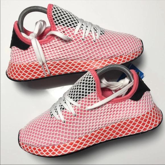 meet 3a160 80ef8 NEW Womens Adidas Deerupt Pink/Red